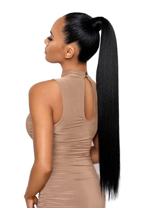 Długie czarne włosy z kitką
